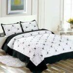 edredon cama 150 blanco y negro
